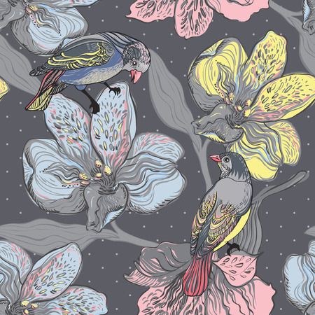 painted the cover illustration: Birds and flowers  Hand drawn vector illustration  Seamless pattern can be used for wallpaper, pattern fills, web page background, surface textures