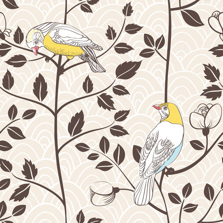 painted the cover illustration: Birds and blossoming plants  Hand drawn vector illustration  Seamless pattern can be used for wallpaper, pattern fills, web page background, surface textures Illustration