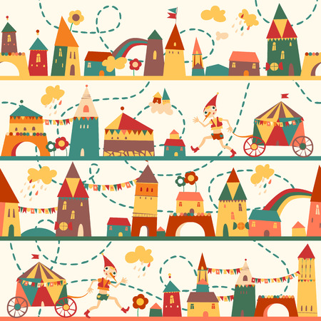 壁紙、パターンの塗りつぶし、web ページの背景、表面のテクスチャに子供背景ヴィンテージ色シームレスなパターンのための家とのシームレスなパ