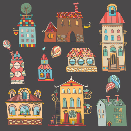 Hand drawn buildings in vintage style  Vector illustration  Vector