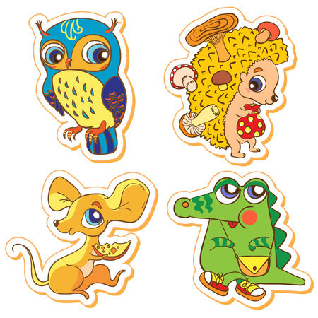 Illustration Set of cute animals  owl, crocodile, mouse, hedgeho illustration