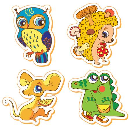 Illustration Set of cute animals  owl, crocodile, mouse, hedgeho illustration