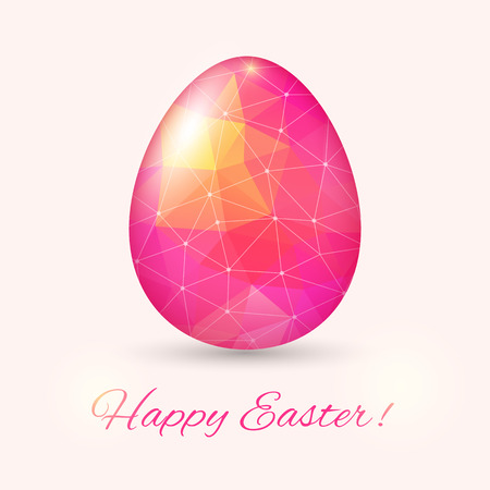 Easter Egg card in polyygonal style. Vector illustration, can be used as creating card, wedding invitation, birthday, valentine's day and other holiday and summer or spring background. Vector