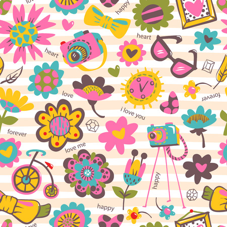 Flower seamless pattern with fashionable things  Heart, flower, bike, camera, glasses, frame  Light background  Hand drawn vector illustration  Vector