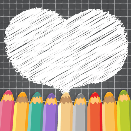 Heart speech bubble with pencils  Dark checkered background  Vector illustration  Place for text  Vector