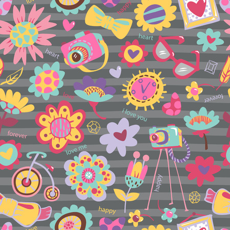 Flower seamless pattern with fashionable things  Heart, flower, bike, camera, glasses, frame  Darc background  Hand drawn vector illustration  Vector