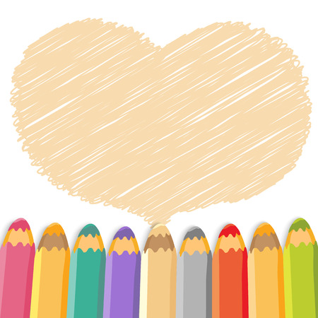 Heart speech bubble with pencils  Light background  Vector illustration  Place for text  Vector