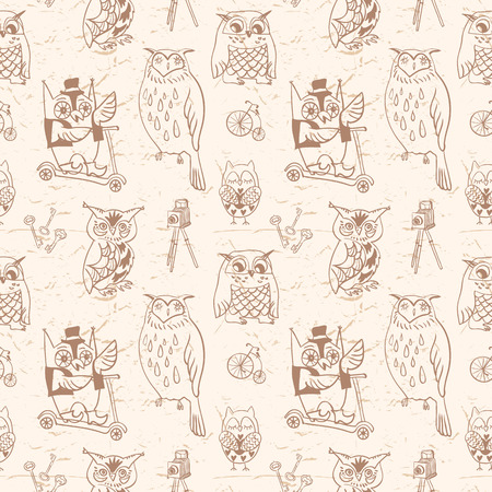 Vintage seamless pattern with Owls  Light background  Hand drawn vector illustration  Vector