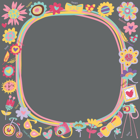 love cute: Flower Love cute frame with fashionable things  Dark background  Template for design cartoon greeting card