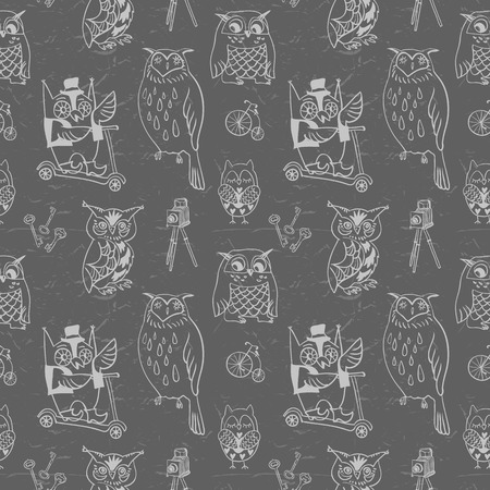 Vintage seamless pattern with Owls  Dark background  Hand drawn vector illustration  Vector