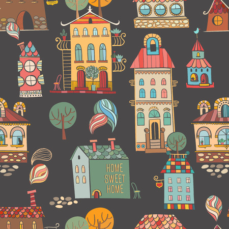 Seamless hand drawn buildings in vintage style on dark background  Vector illustration  Vector