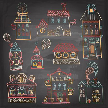 housing development: Set of hand drawn buildings in vintage style on dark background  Vector illustration  Illustration