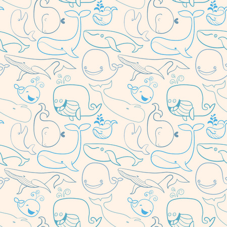 Cute doodle Blue Whales  Marine seamless background  Seamless pattern can be used for wallpaper, pattern fills, web page background, surface textures Vector