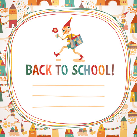 Children s  back to school  background with houses and the fairy Vector