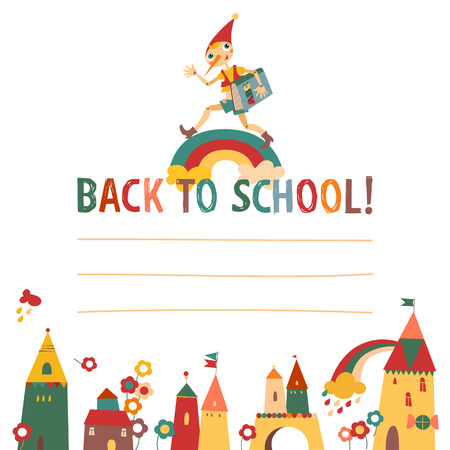 Children s  back to school  background with houses and the fairy Illustration