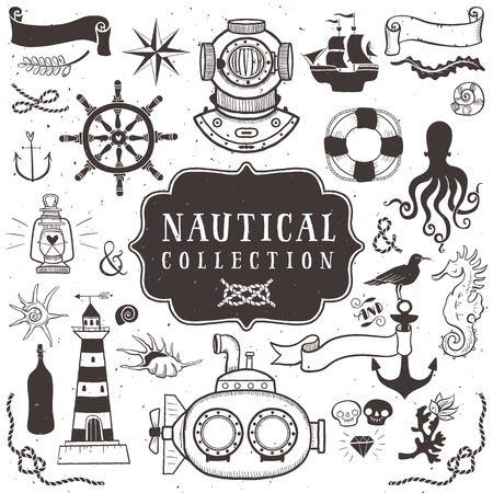 anchor drawing: Vintage hand drawn elements in nautical style. Illustration