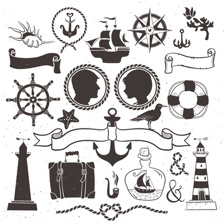 Sea romantic travel. Vintage hand drawn elements in nautical style. Vector