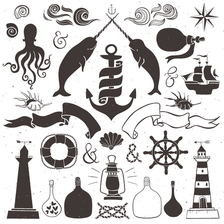 Vintage hand drawn elements in nautical style. Vector