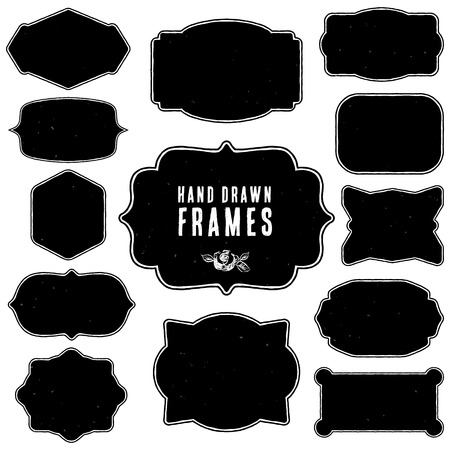 Set of vintage blank frames and labels.