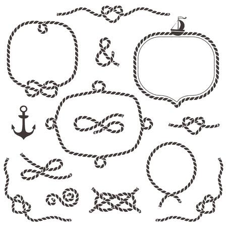 ancla: Marcos de cuerda, las fronteras, nudos. Dibujado a mano elementos decorativos en estilo náutico. Vectores
