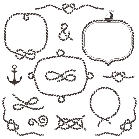 Rope frames, borders, knots. Hand drawn decorative elements in nautical style. Stock Illustratie