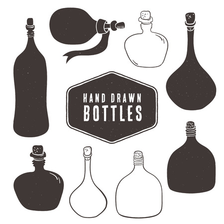 Vintage bottle collection. Hand drawn decorative elements. Illustration