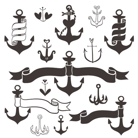 Vintage anchor with ribbon banners. Hand drawn decorative elements. Vector