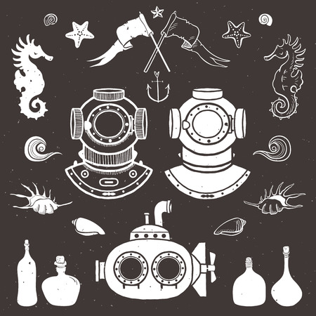 Diver and submarine. Vintage hand drawn elements in nautical style. Vector