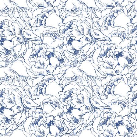 Elegant flower seamless background. Blue set.  Ilustração