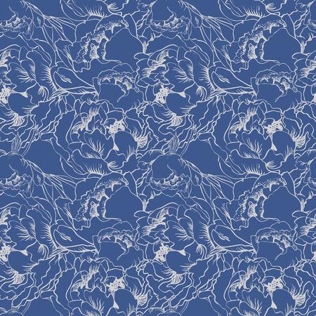 refine: Elegant flower seamless background. Blue and silver set. Illustration