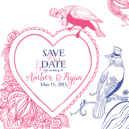 Save the date. Wedding invitation card with birds and floral heart.  Illustration