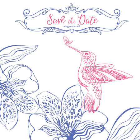 Save the date3. Wedding invitation card with birds and floral heart.  Illustration