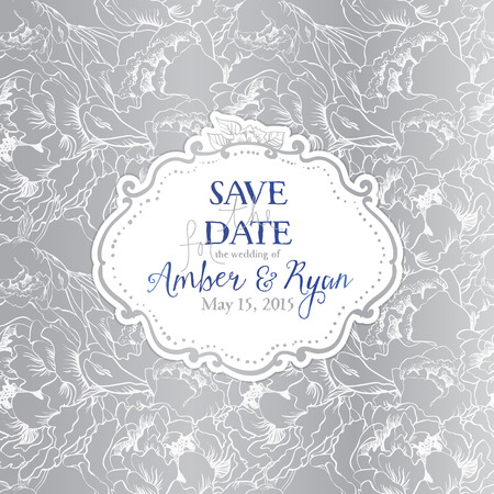 Elegant invitation card on flower seamless background. Blue and silver set.