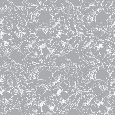 Elegant flower seamless background. Silver set.
