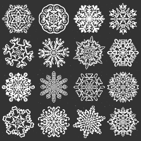 snowflake set: Snowflake chalk Set of 16 isolated elements on dark background. Template for christmas winter design