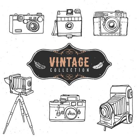 retro camera: Vintage retro old camera collection.