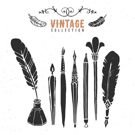 quill pen: Vintage retro old nib pen brush ink collection.