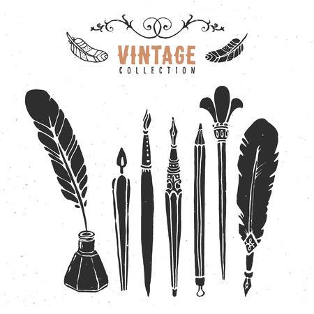 pera: Vintage retro starý špička propiskou štětka sběr inkoust.