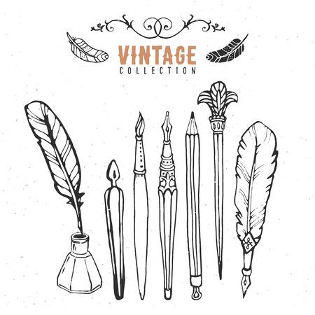 Vintage retro old nib pen brush ink collection. Vector