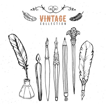 paper and pen: Vintage retro old nib pen brush ink collection.