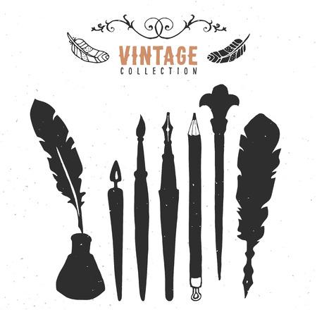 nib: Vintage retro old nib pen brush ink collection.
