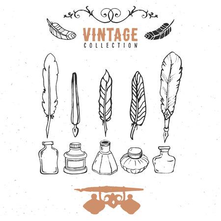 pluma: Vintage colecci�n retro plumilla de tinta de la pluma.