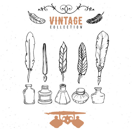 nib: Vintage retro old nib pen feather ink collection.
