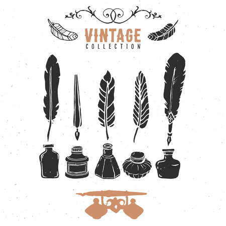 Vintage retro old nib pen feather ink collection.  Vector