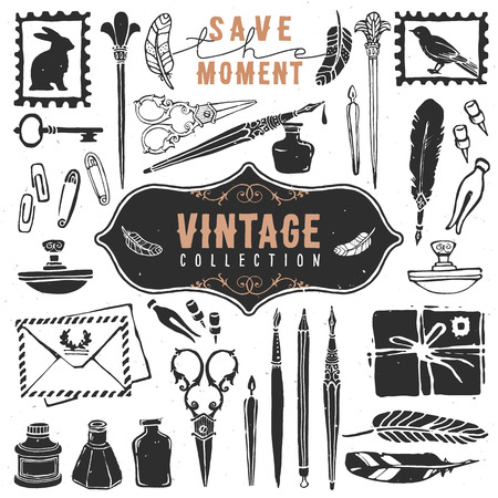 pen ink: Vintage retro old things writer crafted collection.