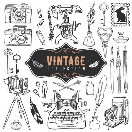 ヴィンテージ レトロな古いものコレクションです。  イラスト・ベクター素材