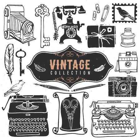 the typewriter: Vintage colecci�n viejas cosas retro. Vectores