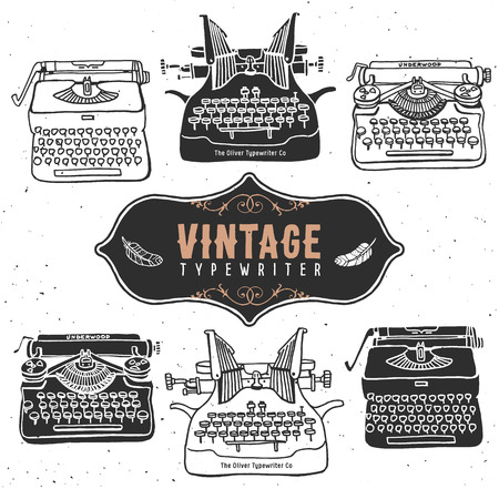 Vintage retro old typewriter collection.