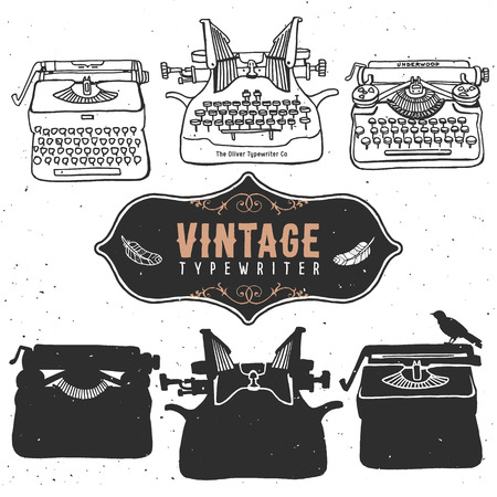 classic authors: Vintage retro old typewriter collection.