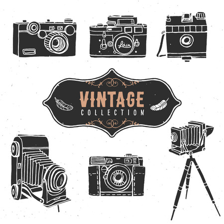 photo camera: Vintage retro old camera collection.